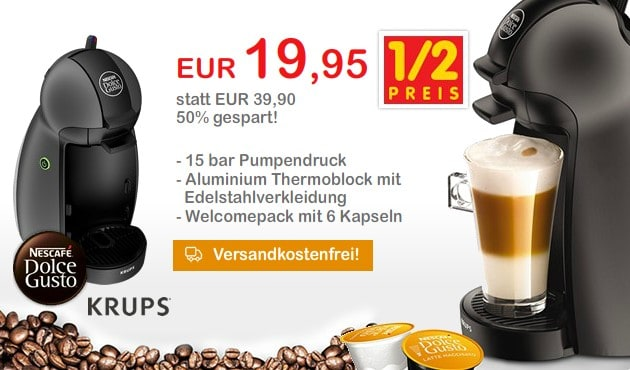 top krups kp100b dolce gusto piccolo um nur 19 95 euro inkl versand. Black Bedroom Furniture Sets. Home Design Ideas