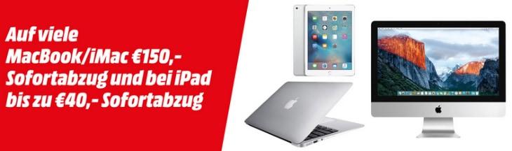 ... MacBook / iMac mit 150 € & iPad mit 40 € Rabatt bei MediaMarkt.at