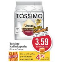 Billa: -25% auf Kaffee – z.B. Tassimo Kapseln um je 3,59 € statt 5,49 €