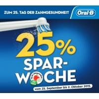 25% Rabatt auf elektrische Oral-B Zahnbürsten ab 25.09.2015