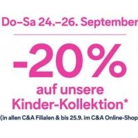 C&A: -20 % auf die Kinder-Kollektion (bis 26.9. Filialen, bis 25.9. Online)