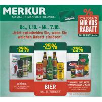 Merkur: -25% auf 3 Warengruppen vom 1.10.- 7.10.2015 – z.B.: -25% auf das gesamte Biersortiment inkl. Beertender