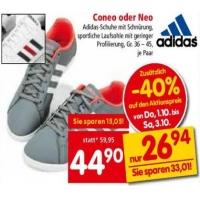 Interspar: 40 % Rabatt Textilien – zB. Adidas Freizeitschuhe Coneo oder Neo um 26,94 € (nur in den Filialen)
