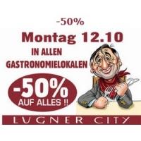 Lugner City: 50 % Rabatt in allen Gastronomie Betrieben am 12.10.2015