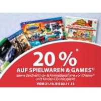 Müller: 20 % Rabatt auf Spielwaren und Konsolen-Games bis 3.11.2015