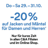 20 % Rabatt auf Jacken & Mäntel bei C&A bis 31.10.