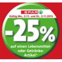 -25 % Gutscheine bei der Spar-Gruppe bis 3. November 2015