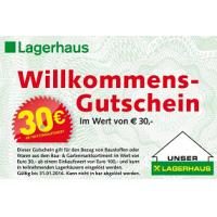 30 € Gutschein ab 100 € Einkauf für Lagerhaus-Neukunden mit alter Baumax-Kundenkarte