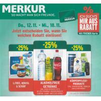 Merkur: -25 % auf 3 Warengruppen – z.B.: alkoholfreie Getränke