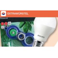 kostenloses Energiespar-Set: 4x LED-Lampen von Philips und Wasserspar-Set mit der Extrawürstel-App von Wien-Energie