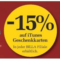 15% Rabatt auf iTunes-Karten bis 25. November 2015 bei Billa