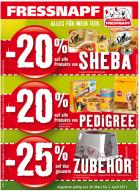 -20% auf Sheba + Pedigree , -25% auf Zubehör @ Fressnapf Österreich