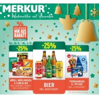 Merkur: -25% auf 3 Warengruppen bis 2.12.2015 – zB. -25% auf das gesamte Biersortiment inkl. Beertender