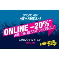 Hervis Onlineshop: 20 % Rabatt auf (fast) ALLES für Club-Mitglieder