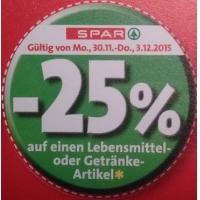 -25 % Aufkleber bei der Spar-Gruppe vom 30.11. – 3.12.2015