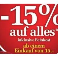 15 % Rabatt auf (fast) alles bei Billa und Merkur am 7.12.2015