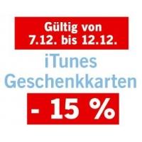 15% Rabatt auf iTunes-Karten bis 12. Dezember 2015 bei Lidl