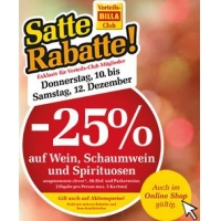 Billa: 25 % Rabatt auf Wein, Schaumwein und Spirituosen bis 12.12.2015