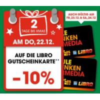 10 % Rabatt auf Libro-Gutscheinkarten vom 14. – 16. Dezember 2017