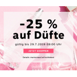 Marionnaud Onlineshop: 25 % Rabatt auf Düfte (bis 29.07.)