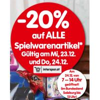 20% Rabatt auf Spielwaren bei Interspar am 23. und 24.12.2015