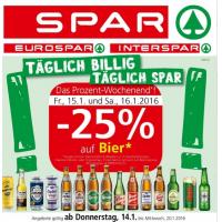 Spar/Eurospar/Interspar: -25% auf Bier (Radler) am 15. u. 16.1.2015