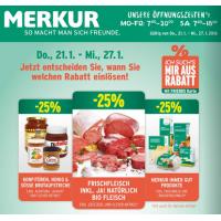 Merkur Angebote: -25% auf 3 Warengruppen & 1+1 Aktionen bis 27.1.