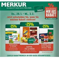 Merkur Angebote: -25% auf 3 Warengruppen & 1+1 Aktionen bis 3.2.2016