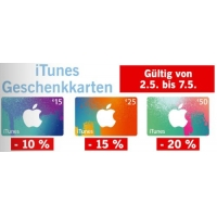 Bis zu 20 % Rabatt auf iTunes Karten bei Lidl von 6. – 11. Juni