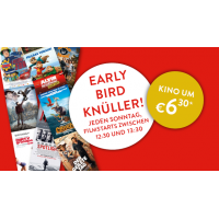 Cineplexx Early Bird jeden Sonntag in Ausgewählten Kino´s zwischen 12:30 und 13:30 um 6,50€* ins Kino gehen