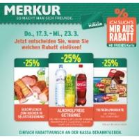 Merkur: -25 % auf 3 Warengruppen (zB.: alkoholfreie Getränke) bis 24.3.
