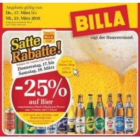 Billa: 25 % Rabatt auf Bier (Radler) bis 19.3.2016 für Clubmitglieder