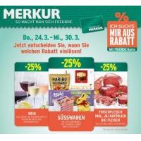 Merkur: -25 % auf 3 Warengruppen (zB.: Süßwaren) bis 30. März 2016