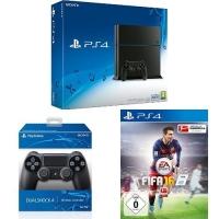 PlayStation 4 Konsole 500GB (CUH-1216A) + 2x DualShock 4 Controller + FIFA 16 um nur 364,97 € inkl. Versand bei Amazon