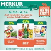Merkur: -25 % auf 3 Warengruppen (zB.: Bier) bis 6. April 2016