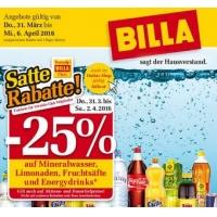 Billa: 25% Rabatt auf Mineral, Limo, Fruchtsäfte & Energydrinks bis 2.4.