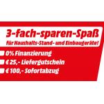 MediaMarkt 3-fach-sparen-Spaß: 100 € Rabatt + 25 € Liefergutschein & 0%-Finanzierung auf Haushalts-Großgeräte ab 499€