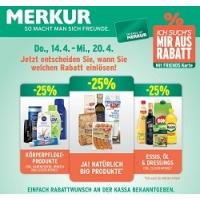 Merkur: -25 % auf 3 Warengruppen (zB.: Ja! Natürlich Produkte) bis 20.4.