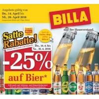 Billa: 25 % Rabatt auf Bier (Radler) bis 16.4.2016 für Clubmitglieder