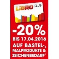 Libro Club -20 % Rabatt auf ausgewählte Bastel- und Schreibwaren