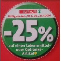 -25 % Aufkleber bei der Spar-Gruppe vom 18. – 21. April 2016