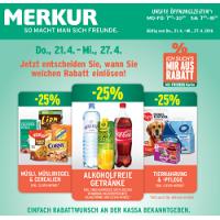 Merkur: -25 % auf 3 Warengruppen (zB.: alkoholfreie Getränke) bis 27.4.