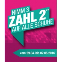 Hervis Filialen: Kauf 3 Zahl 2 auf alle Schuhe bis 2. Mai 2016
