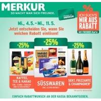 Merkur: -25 % auf 3 Warengruppen (zB.: Tiefkühlprodukte) bis 3. Mai
