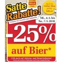 Billa: 25 % Rabatt auf Bier (Radler) bis 7.5.2016 für Clubmitglieder