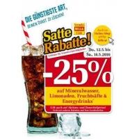 Billa: 25% Rabatt auf Mineral, Limo, Fruchtsäfte & Energydrinks bis 14.5.