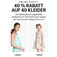 H&M Onlineshop: 40 % Rabatt auf 40 Kleider + kostenloser Versand
