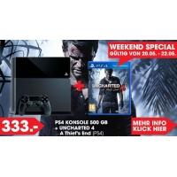 PlayStation 4 – 500GB (schwarz oder weiss) + Uncharted 4 um 328 €