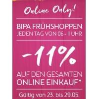 11 % Rabatt im BIPA Onlineshop täglich von 6 – 11 Uhr (bis 29. Mai)