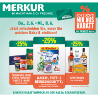Merkur: -25 % auf 3 Warengruppen (zB.: Spirituosen) – bis 8. Juni